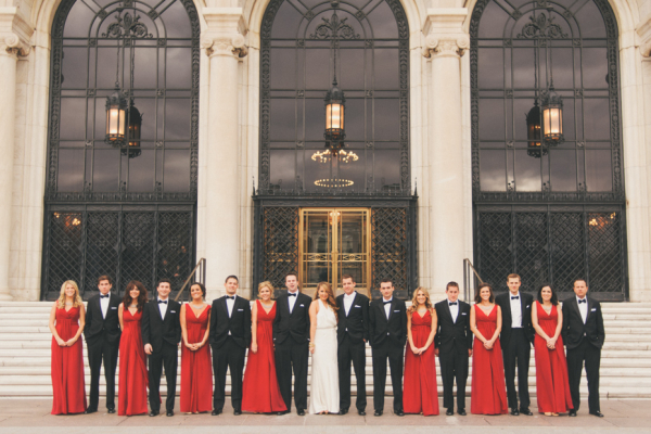 Red and Black Bridal Party