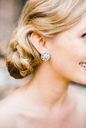 Rhinestone Bridal Button Earrings