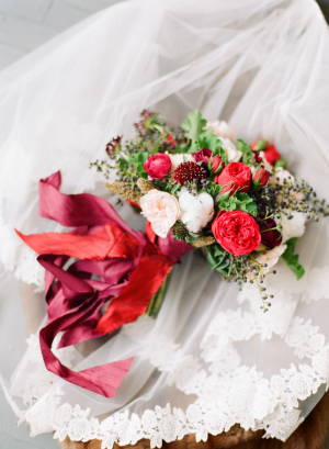 Romantic Red Ribbon Bouquet