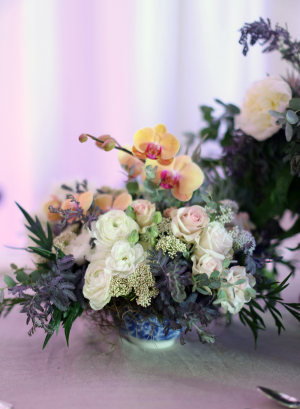 Rose Orchid Thistle Centerpiece