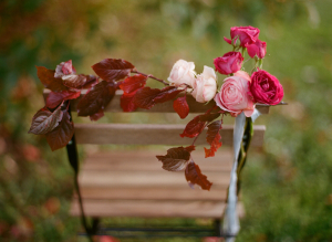 Rose and Fall Foliage Chair Garland