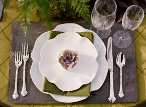 Ruffled White China Plates