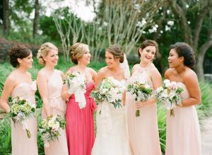 Shades of Pink Bridesmaids Dresses