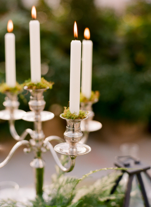 Silver Candelabra With Moss