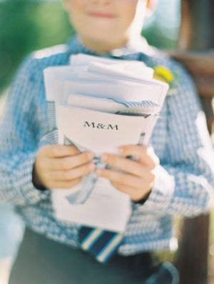 Striped Ribbon on Wedding Programs