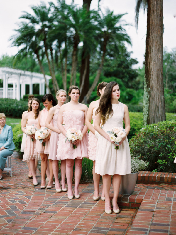 Taupe And Blush Bridesmaids Dresses