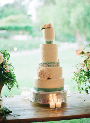 Tiered Wedding Cake with Green Ribbons