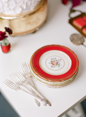 Vintage Red and Gold Plates