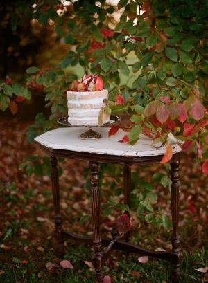 Wedding Cake Topped with Pomegranates