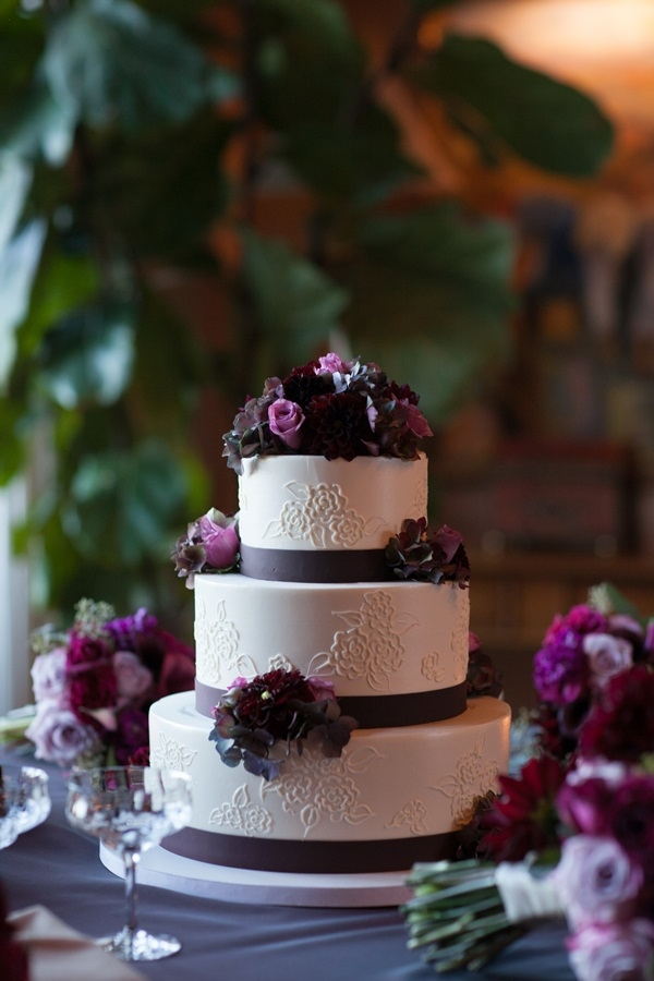 Wedding Cake with Purple Ribbon
