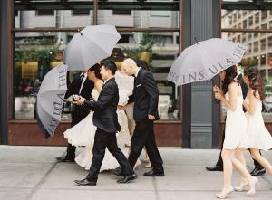 Wedding Party with Umbrellas