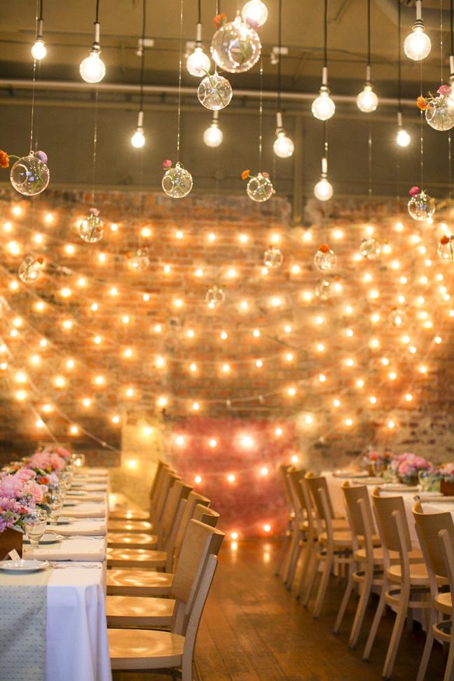 wedding reception with string lights elizabeth anne