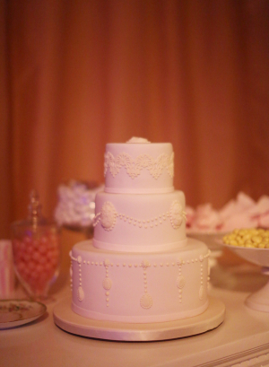 White Wedding Cake with Cameos