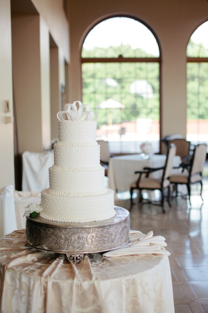 White Wedding Cake with Dots