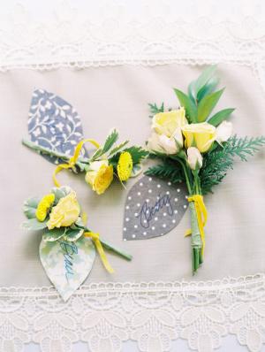 Yellow Rosebud Boutonnieres
