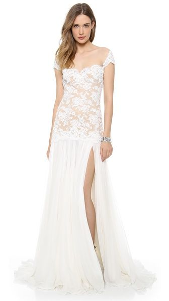 Embroidered Lace Drop Waist Gown