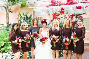 Aubergine Lace Bridesmaids Dresses