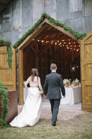 Barn Door with Greenery