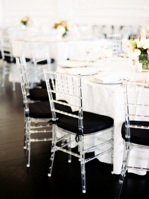 Black and Lucite Chiavari Chairs at Reception