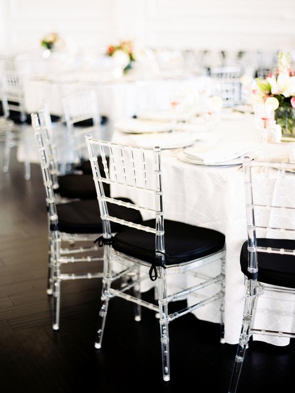 Black And Lucite Chiavari Chairs At Reception Elizabeth