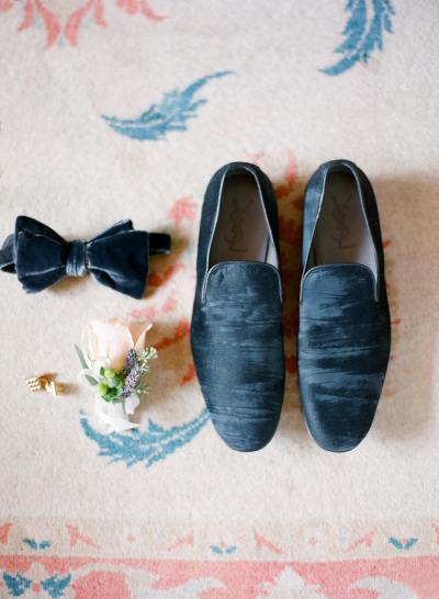 Blue Velvet Groom Accessories