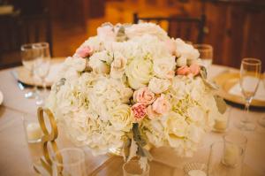 Blush and Cream Hydrangea and Rose Arrangement