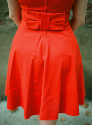 Bow Back on Red Dress