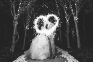 Bride and Groom Exit With Sparklers