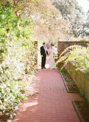 Bride and Groom in Winter Garden