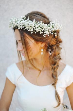Bride in Babys Breath Crown