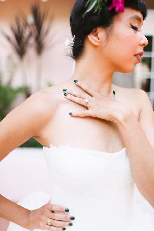 Bride in Green Nail Polish