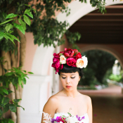 Bride in Hot Pink Flower Crown