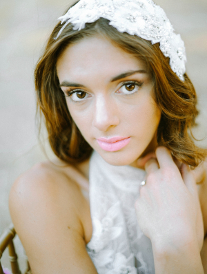 Bride in Pale Pink Lipstick