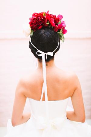 Bride in Pink Flower Crown
