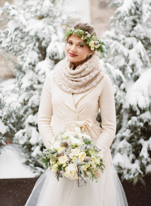 Bride in Scarf and Winter Coat