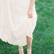 Bride in Silver Ankle Strap Heels