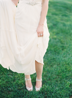 Bride in Silver Ankle Strap Heels