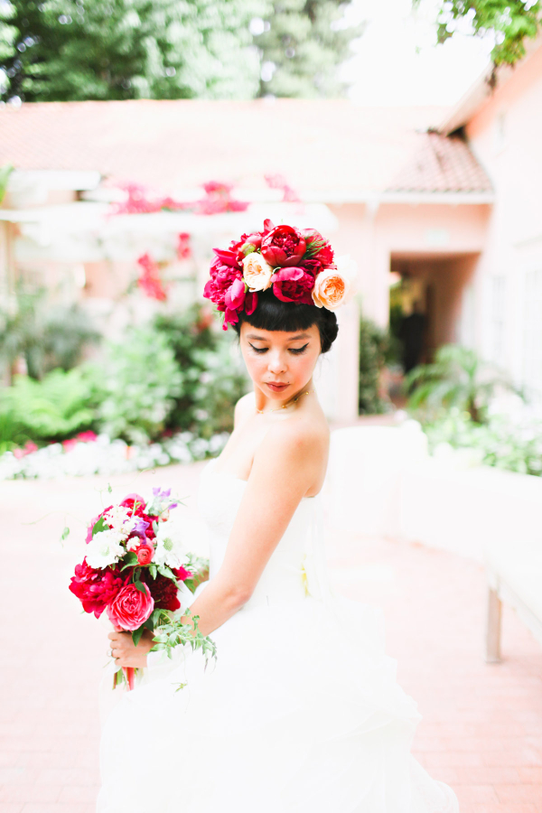 Bride with Fuchsia Flowers