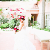Bride with Hot Pink Flowers