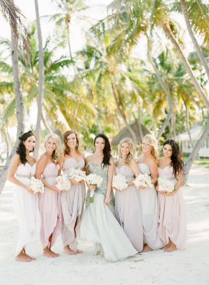 Bridesmaids in Pastel Gowns