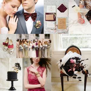 Burgundy Gold Black Wedding Colors
