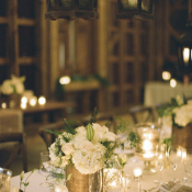 Burlap and Hydrangea Reception Decor