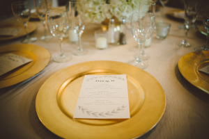Calligraphy Menus on Gold Chargers