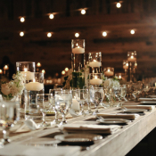 Candle Centerpiece Wood Table