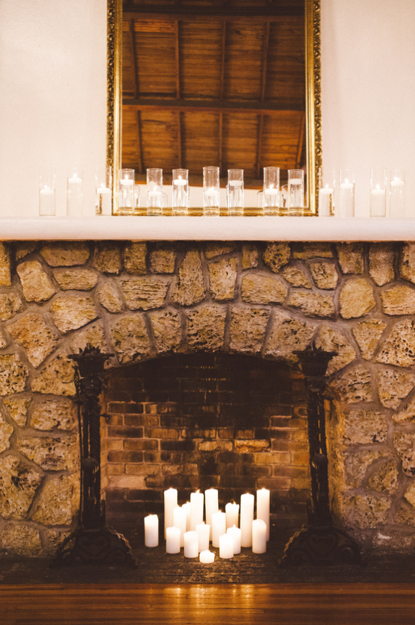 Candles in Stone Fireplace