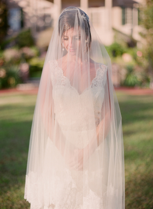 Cathedral Veil Over Lace Gown