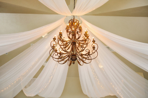 Chandelier and Tulle Ceiling