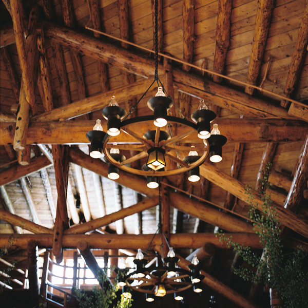 Chandelier at Lodge Wedding