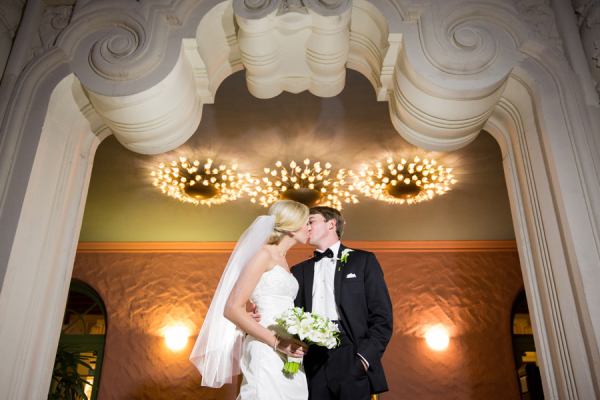 Classic Florida Resort Bride and Groom Kiss