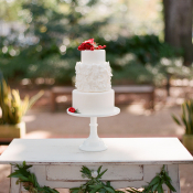 Classic White Cake With Red Accents